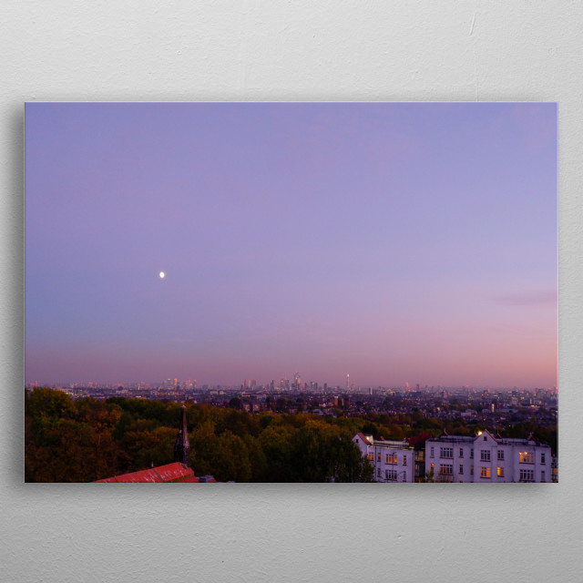 Looking over the city of London from afar with a moon in the summer sky metal poster