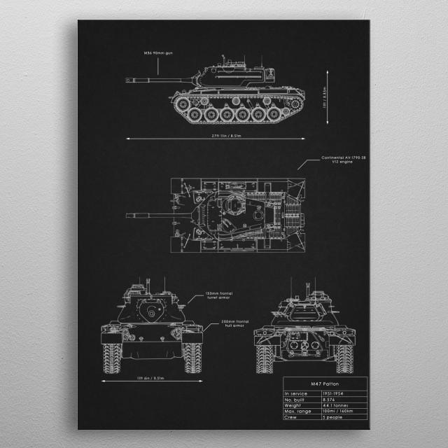 M47 Patton metal poster
