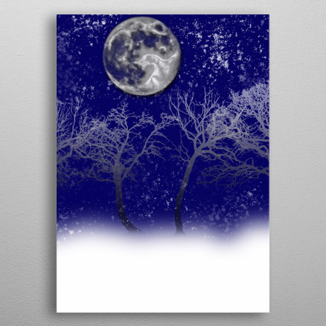 Blue moon snow trees graphic art collage. metal poster