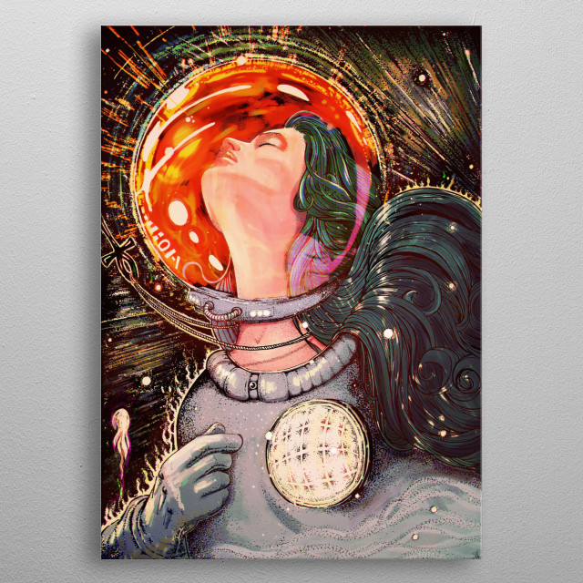 A pen and ink drawing of an astronaut , colored in photoshop. This was inspired by a dream I had and my love of all things science fiction . metal poster