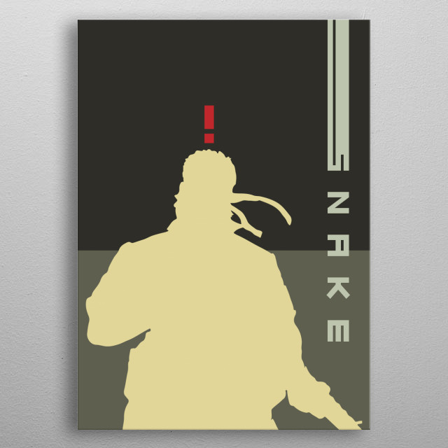 Poster of Snake character from game called metal gear  metal poster