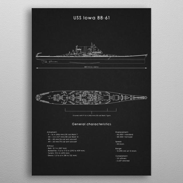 USS Iowa BB-61 metal poster