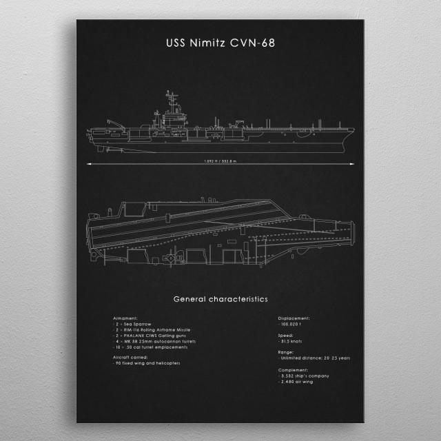 USS Nimitz CVN 68 metal poster