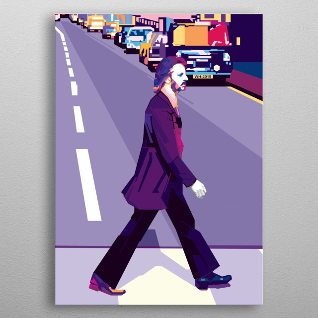 Inspired from the Abbey Road cover album by English rock band the Beatles metal poster