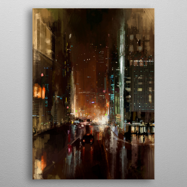 Illustration of a rainy street in a busy city. metal poster