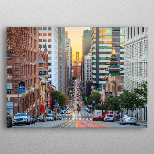 View down California St in San Francisco at sunrise. metal poster