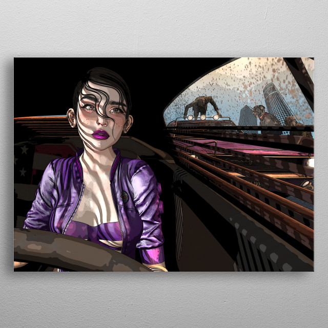 Comic book style illustration of a girl in a car surrounded by zombies. metal poster