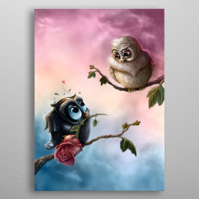 Digital Painting of a shy owl proposing before his great love... metal poster