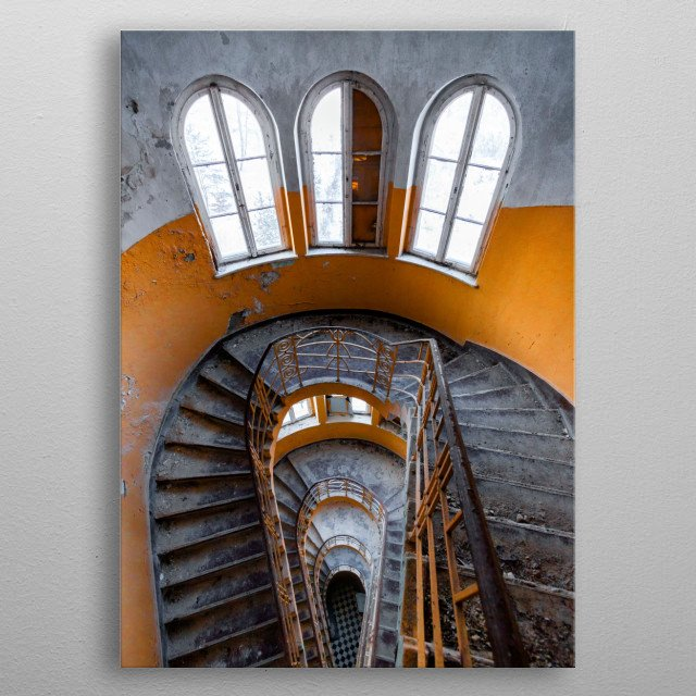 A starway in an abandoned sanatorium somewhere in Germany.  metal poster
