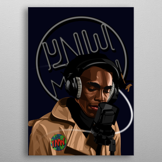 Rapper YNW Melly on Vector style with Neon Lamp Off Background metal poster