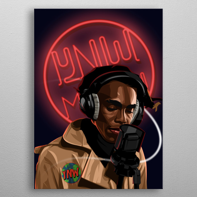 Rapper YNW Melly on Vector style with Neon Lamp On Background metal poster