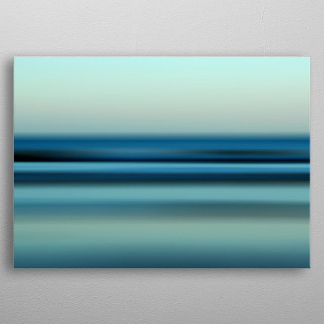 Soft focus seascape on Anglesey, photo taken in low light. metal poster