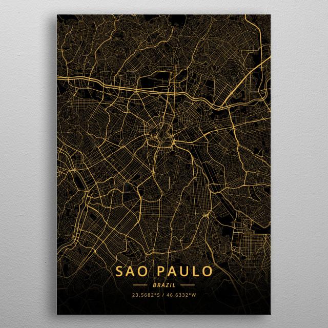 Sao Paulo, Brazil metal poster