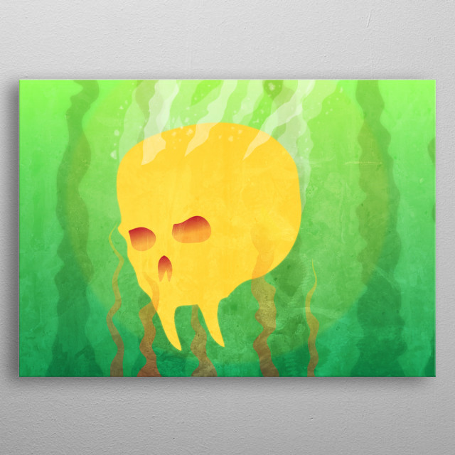 A vampire like creatures drowning skull. metal poster