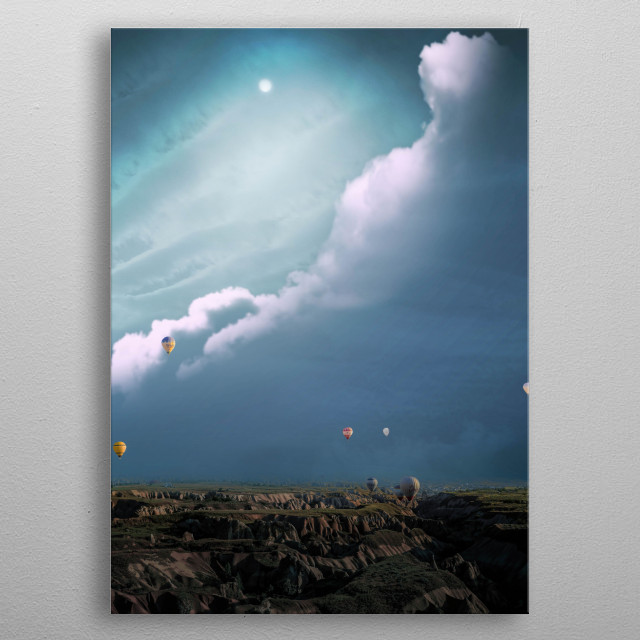 Hot air balloon and the moon metal poster