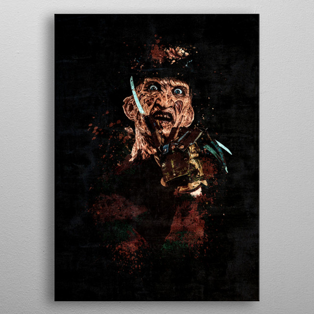 Dark Freddy Krueger portrait with splatter painting and grunge effect. This FanArt will be great gift for Horror fans. Made in Adobe PS. metal poster