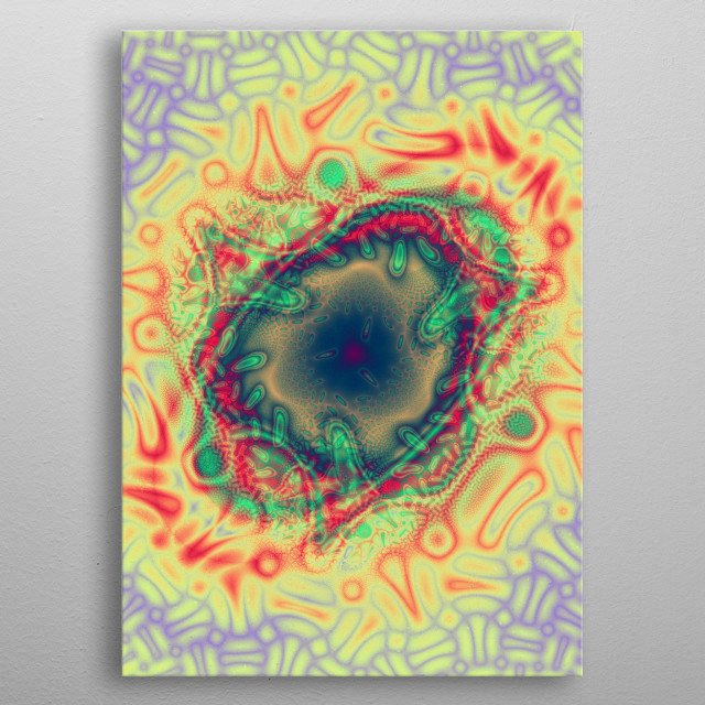Strange looking 'alien lifeform' created using a fractal program and enhanced in Photoshop. metal poster