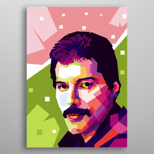 freddie mercury vocalis from legendary band Queen. Its him portrait in wpap style metal poster