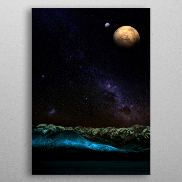 Digital illustration of unknown planet at night with their two moons metal poster