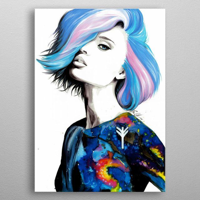 Colorful portrait of a women. Painted with watercolors. metal poster