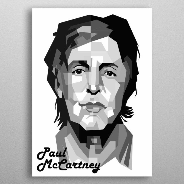 Paul McCartney Design in Grayscale Style metal poster