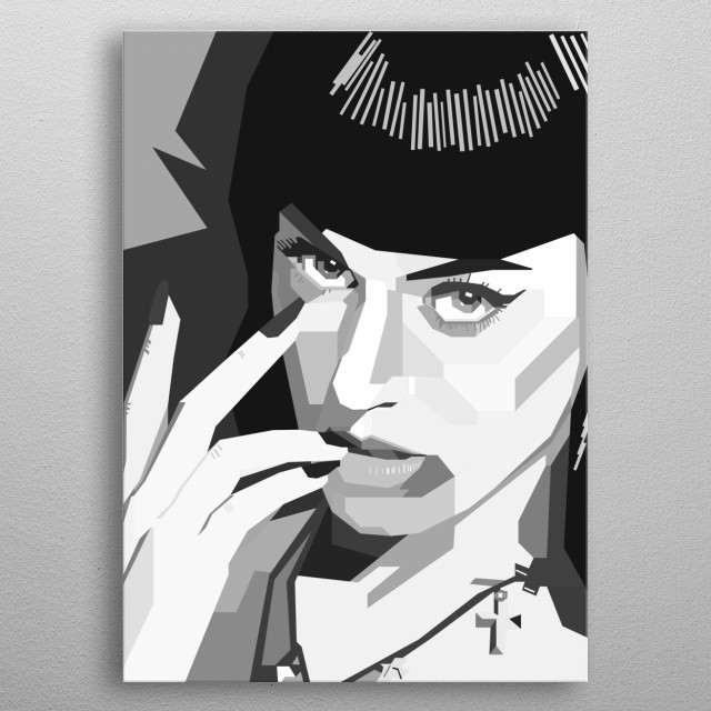 Katy Perry Design in Grayscale Style metal poster