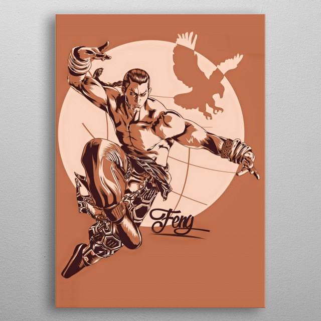 """fighter character called """"the Eagle"""" in a Japanese game based on Tekken metal poster"""