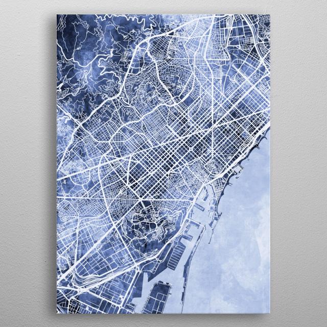 Watercolor street map of Barcelona, Spain metal poster