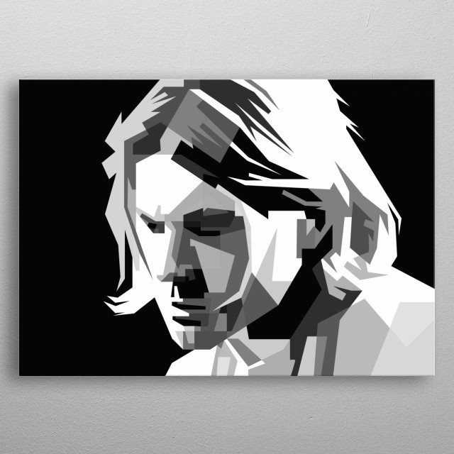 Kurt Cobain Design in Grayscale Style metal poster