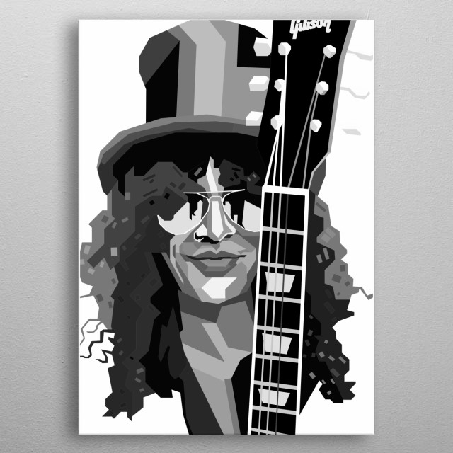 Slash Design in Grayscale Style metal poster