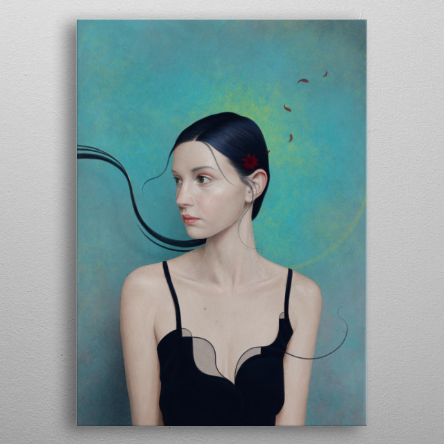 Portrait of a girl with little gravity issues. metal poster