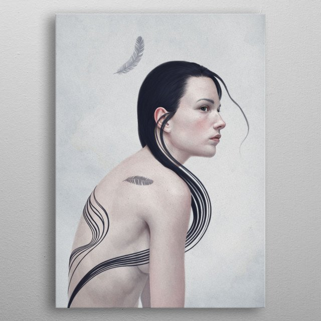 Portrait of a girl with a feather tattoo metal poster