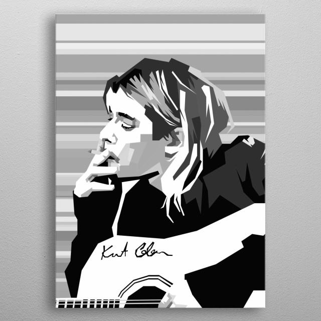 Kurt Cobain Design in Grayscale Style metal poster