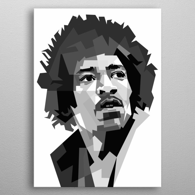 Jimi Hendrix Design in Grayscale Style metal poster