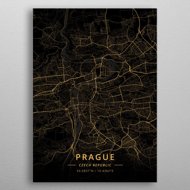 Prague, Czech Republic metal poster