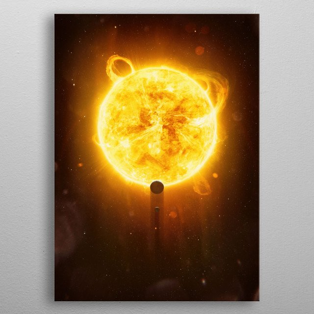 The Origin: The sun, earth and moon of our solar system. metal poster