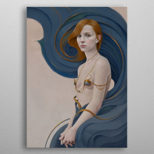 Portrait of a girl with red hair and a swirling dress metal poster