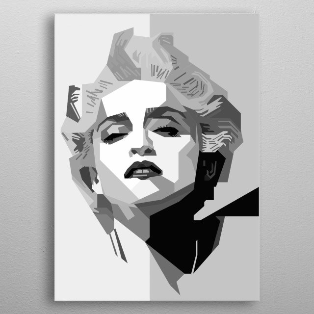 Madonna Design in Grayscale Style metal poster