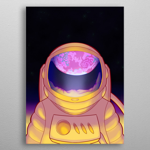 an Illustration of an Astronaut looking at they home planet from a satellite. metal poster