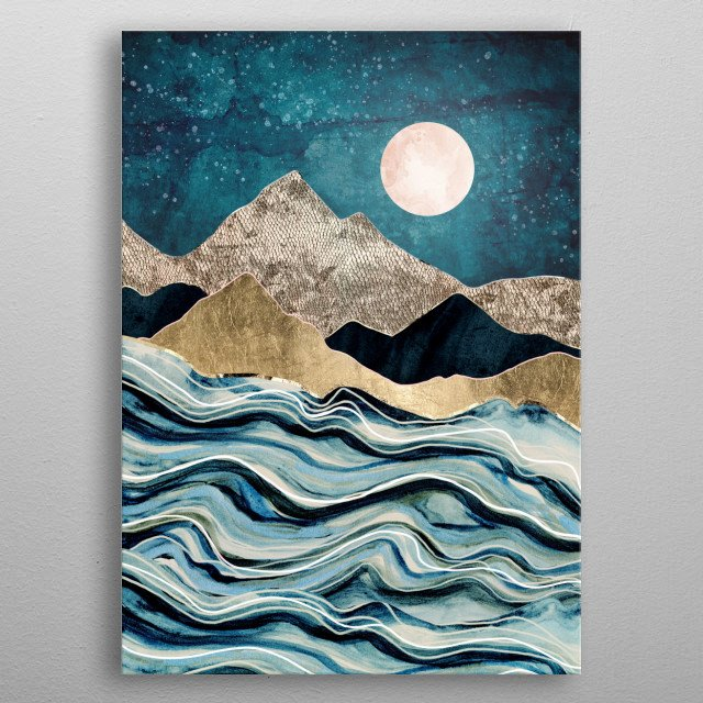 Abstract depiction of an indigo sea with mountains, gold, stars and blue metal poster