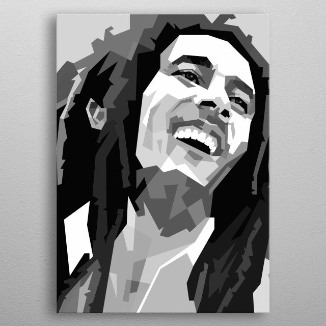 Bob Marley Design in Grayscale Style metal poster