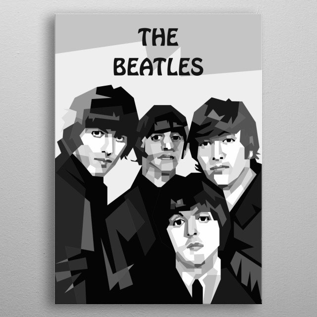The Beatles Design in Grayscale Style metal poster