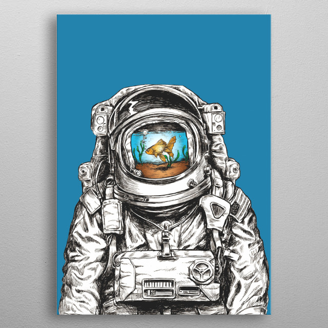 Astronaut with a fish metal poster