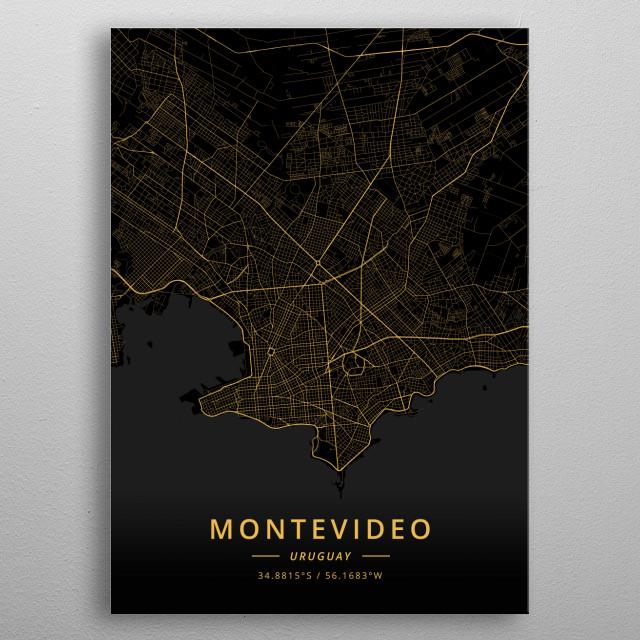 Montevideo, Uruguay metal poster