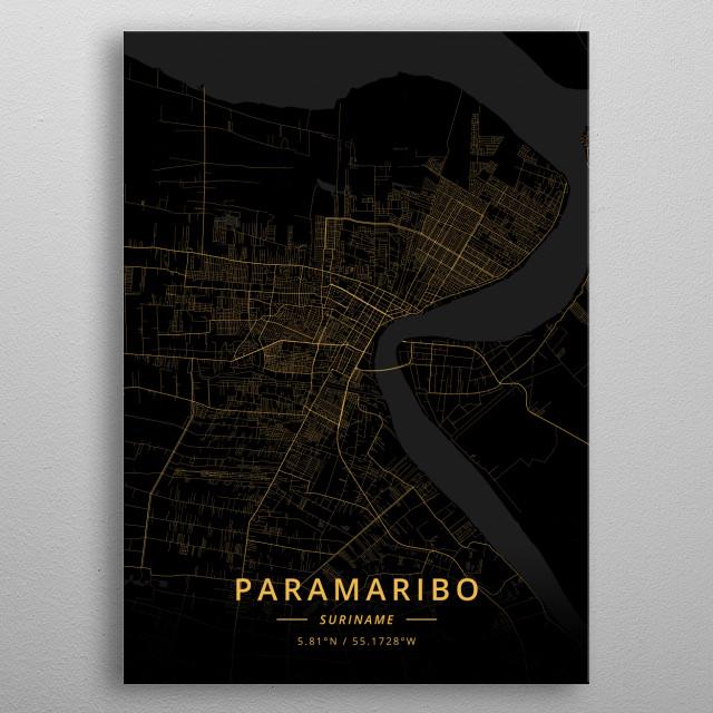 Paramaribo, Suriname metal poster
