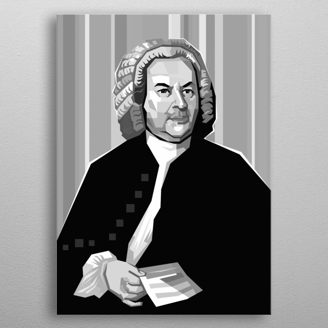 J S Bach Design in Grayscale Style metal poster