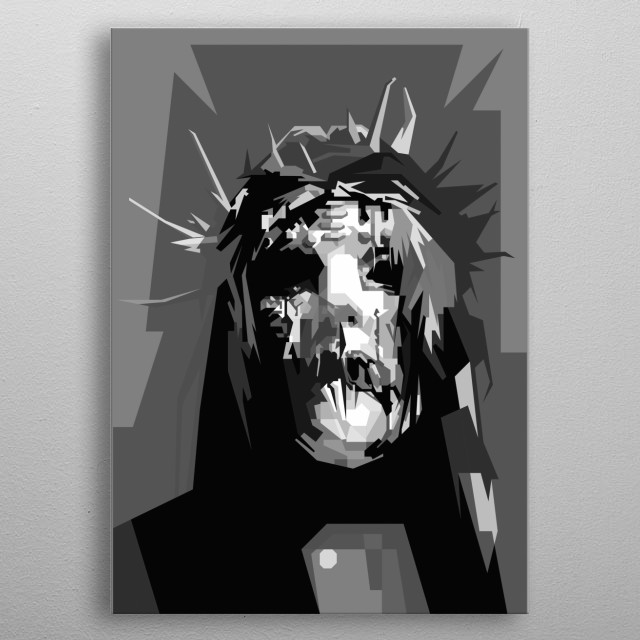 Joey Jordison Design in Grayscale Style metal poster