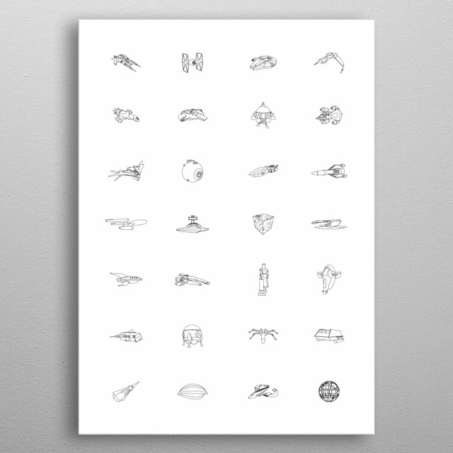 A collection of light spaceships from science fiction.  metal poster