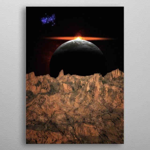 A sunlight on an exoplanet metal poster
