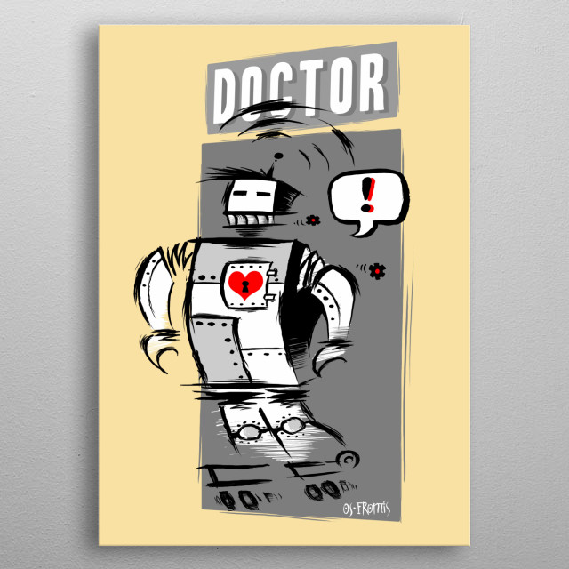 A cute robot who just got installed with feelings. The happiest inhuman being in the world! metal poster